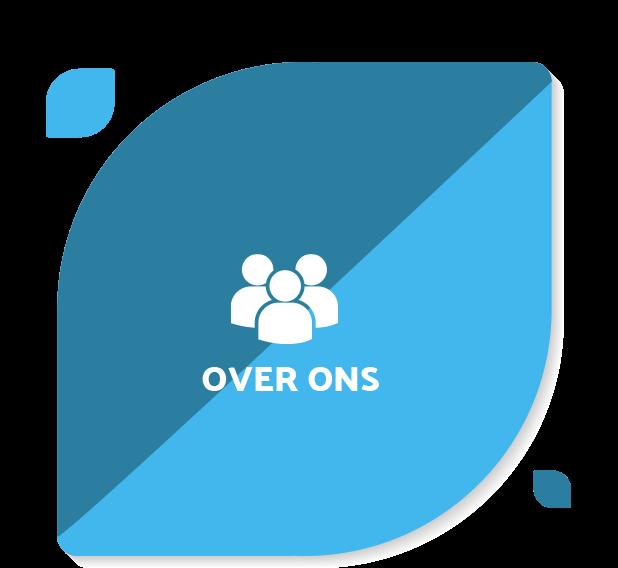 Navigatie blad over ons icoon blauw