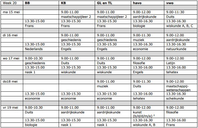 examenrooster 2017